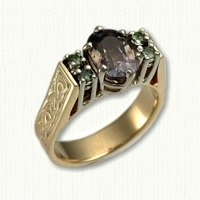 14kt yellow gold Kathryn engagement ring with Murphy Knot pattern, oval center stone and 4 small side stones