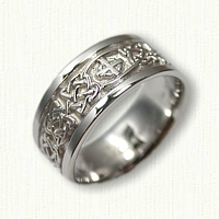 14kt White Gold Celtic Kenmare Knot Band with Single Cross