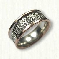 14kt Two Tone Celtic Kenmare and Elsinore Cross Wedding Band