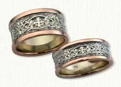 Celtic Kenmare Knot and Elsinore Cross Wedding Band - 14kt White Center/14kt Rose Rails