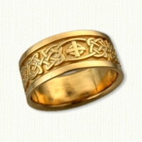 14kt Celtic Kenmare Knot Wedding Band with Celtic Cross