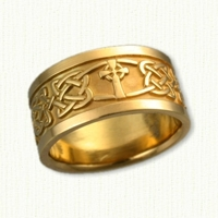 14kt Celtic Kenmare Knot Wedding Band with Celtic Enfield Cross