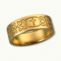 14kt Celtic Kenmare Knot Wedding Band with Celtic Enfield Cross - Reverse Etch