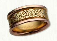 Celtic Lensiedel Knot Band in Two Tone. 14Kt Yellow Center/Rose Rails