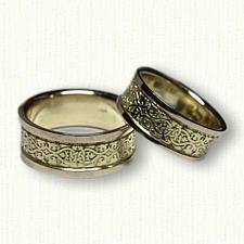 14kt Green Gold Celtic Lensiedel Knot Wedding Band Set
