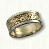 14kt Two Tone Celtic Lensiedel Knot Wedding Band