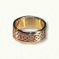 14kt Rose and Yellow Gold Lindesfarne Knot Wedding Band