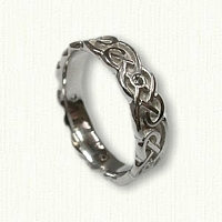 14kt White Gold Celtic Sculpted Lindesfarne Knot Wedding Band