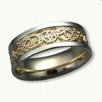 Custom Two Tone Initial J Lindesfarne Knot Wedding Band