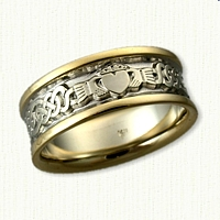 14kt Two Tone Lindesfarne with  Single Claddagh Wedding Band