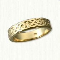 14kt Celtic Lindesfarne Knot Wedding Band - Sculpted