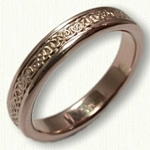 Narrow Lindesfarne Knot wedding band (with  narrow rails)-14kt Rose Gold