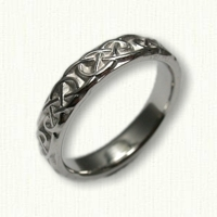 14kt White Gold Celtic Lindesfarne Knot Band - Sculpted