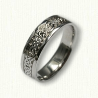 14kt White Gold Celtic Lindesfarne Knot Band