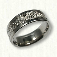 14kt White Gold Celtic Lindesfarne Knot Band with Initials