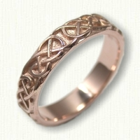 14kt Rose Gold Celtic Lindesfarne Knot Wedding Band- Sculpted with Straight Edges