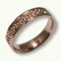 14kt Rose Gold Celtic Lindesfarne Knot Wedding Band - 5.0 mm width