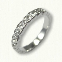 14kt White Gold Sculpted Lindesfarne Knot Wedding Band - narrow