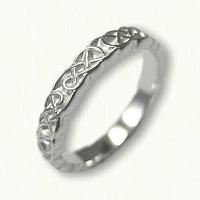 14kt White Gold Sculpted Lindesfarne Knot Wedding Band - narrow