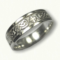 Sterling Silver Lindesfarne Knot Band with Celtic Crosses Wedding Band