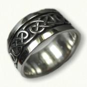 Sterling Silver Celtic Lindesfarne Knot Wedding Band - wide 10 mm width