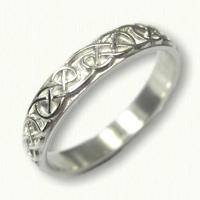 Sterling Silver Celtic Lindesfarne Wedding Band - sculpted - straight edges