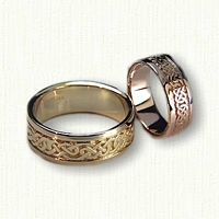 14kt yellow and 14kt Rose Gold Lindesfarne Knot Wedding Band Set