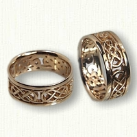 14kt Yellow Gold Pierced Celtic Lindesfarne Knot Wedding Band Set