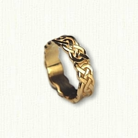 14kt Yellow Gold Sculpted Celtic Lindesfarne Knot Wedding Band