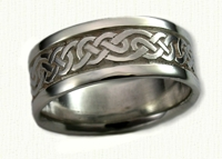 14kt white gold Lindesfarne Knot Wedding Bands