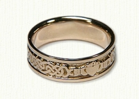 14KY Lindesfarne Claddagh Wedding Band