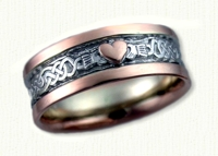 Lindesfarne Claddagh Wedding Bands with 3x3mm Raised Heart. White gold center/Rose gold rails and heart