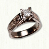 ' Bridget' engagement ring with Lindesfarne pattern and princess cut diamond