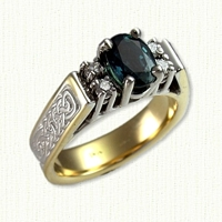 ' Kathryn' engagement ring with Lindesfarne knot pattern, oval green sapphire and 4 small diamonds