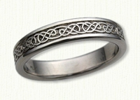 14kt white gold Narrow Lindesfarne Knot Wedding Bands