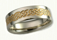 14kt white gold Lindesfarne Knot Wedding Band - Reverse Etch with 18kt yellow gold electroplating