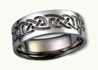 14kt white gold Celtic Lindesfarne Knot Band with Textured finish- Reverse Etch