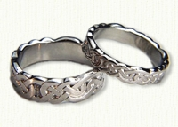 14kt white gold Sculpted Lindesfarne Wedding Bands