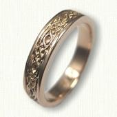 14kt Rose Gold Celtic Longford Knot Wedding Band - 4.0 mm width