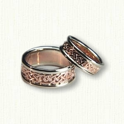 14kt Rose and White Gold Celtic Loose Knot Wedding Band Set