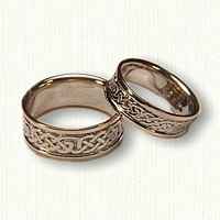14kt Two Tone Celtic Loose Knot Wedding Band Set