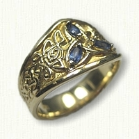 14kt Yellow Gold Custom Celtic Triangle Knot Tapered Band with Marquise Sapphire Side Stones