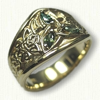 14kt Yellow Gold Custom Celtic Triangle Knot Tapered Band with Marquise Green Sapphire Side Stones