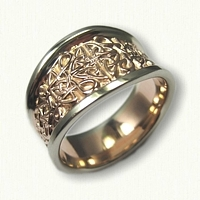 Tapered Love Knot wedding ring with rose gold center and white gold raised rails