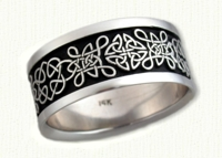 14kt White gold Love Knot Band with black paint antiquing - Straight deSign