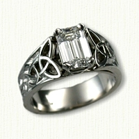 Custom Pierced Platinum Triangle & Continuous Heart knot engagement ring set with an Emerald Cut Diamond
