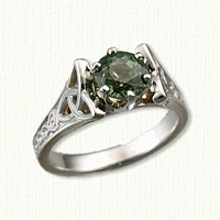 Marishele Engagement Ring  set with a 1.39ct round green Sapphire