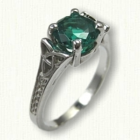14kt White Gold  Medium Bridged Marishelle Engagement Ring set with a 7.0 mm Chatham Emerald