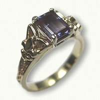 14kt Yellow Gold Celtic Marishelle Engagement Ring with Fleur de Lis Sides set with a 7 x 5 mm Emerald Cut Chatham Alexandrite
