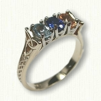 14kt Yellow Gold Celtic Bridged Marishelle Mother's Ring set with (3) 6 x 4 oval birthstones - genuine aqua, simulated sapphire, genuine topaz
